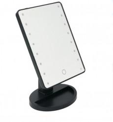 Oglinda de machiaj iluminata neagra - 16 LED - 17x27 cm