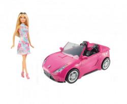 Papusa cu masina decapotabila Barbie, 36x16x19, roz