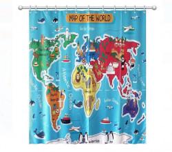Perdea baie - harta lumii 180x180cm