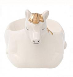 Scrumieră din argilă, culoare aur alb, 3D Unicorn, 11x15x11 cm