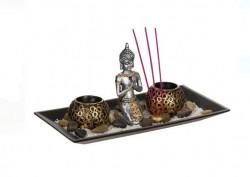 Set baza din lemn cu bastoane aromate Buddha, 29x15 cm