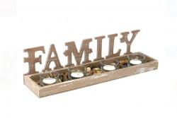 Set bază din lemn, sfeșnice și pietre decorative Familia 38,5x9,5x10 cm