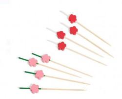 Set de 24 scobitori din lemn de bambus cu model floral