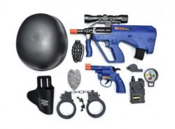 Set de politie cu casca si arma cu sunete si lumini, 70x5x35cm