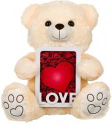 Ursuleț de pluș cu cadru Ecru Love 40 cm