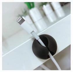 Cârlige negre autoadezive pentru cabluri - 4 buc