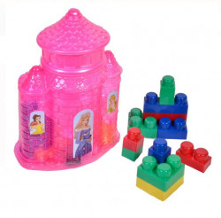 Castel transparent roz pentru cuburi, 22x8x32 cm