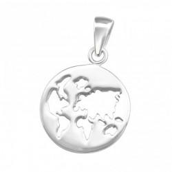 Colier Argint 925 + Pandantiv Harta Lumii
