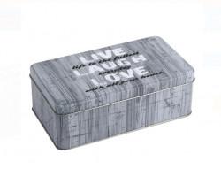 Cutie depozitare - Gri metalizat cu mesaj, 18x10x6cm