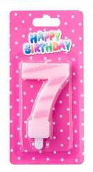 Lumanare aniversara roz si cu sclipici nr. 7