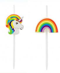 Lumânări de ziua de naștere pentru design de unicorn și curcubee