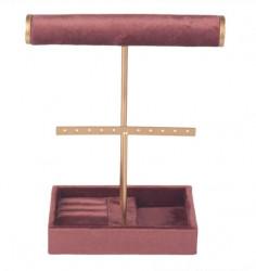 Organizator de bijuterii Dusty Pink Velvet Gold 25 cm