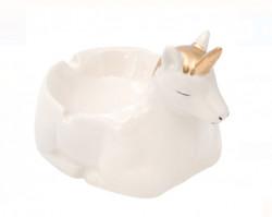 """<img src=""""uni.png"""" alt=""""Scrumieră din argilă aur alb 3D Unicorn 11x15x11 cm"""">"""