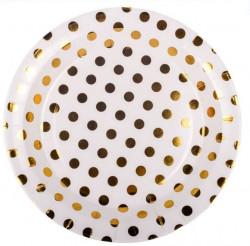 Set de farfuri albe cu buline aurii 18 cm