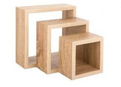 Set rafturi de perete format din 3 bucati diferite dimensiuni, 23x9x23 cm- 18x9x18 cm- 12,7x9x12,7 cm