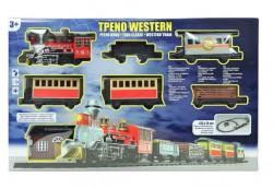 Tren de jucarie western clasic cu statie, sunet si lumini