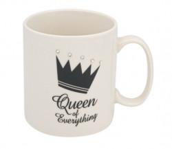 "Cana Model ""Queen of Everything"", 10x9 cm, 530 ml, Ceramica, Alb/negru"