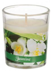 Lumânare albă în pahar, aroma de iasomie 5x6,5 cm