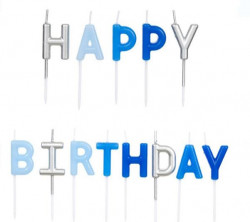 Lumanare decorativa HAPPY BIRTHDAY albastru