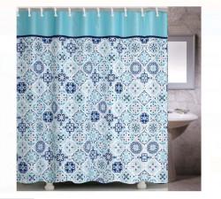 Perdea baie - placi albastre - 180x180cm