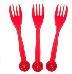 Set de 10 furculite rosii din plastic