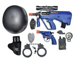 Set de polițist cu armă si cască - 8 buc.