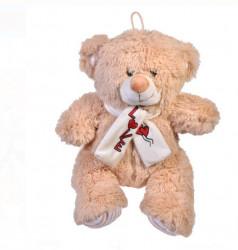 Ursulet de plus bej cu esarfa - dragoste - 30cm