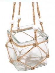 Vaza decorativa suspendata cu design impletituta