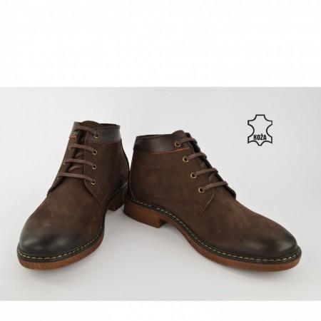 Kožne muške duboke cipele 486BR braon