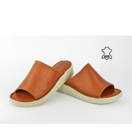 Kožne ženske papuče AS543BR braon
