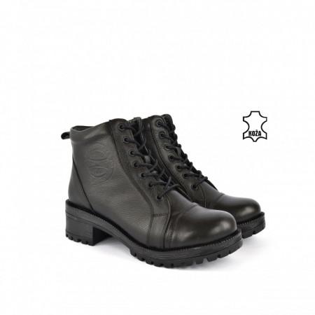 Kožne ženske duboke cipele 1023CR crne