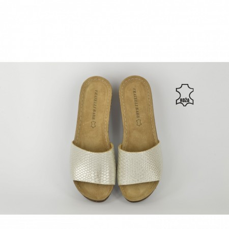 Kožne ženske papuče na platformu D-263 srebrne
