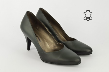 Kožne ženske cipele na štiklu 208LZ zelene
