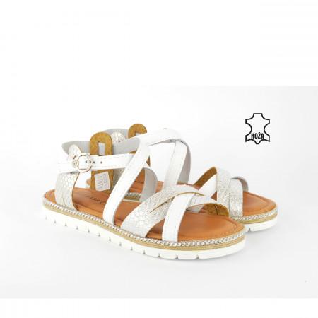 Kožne ženske sandale D-2108SB srebrne