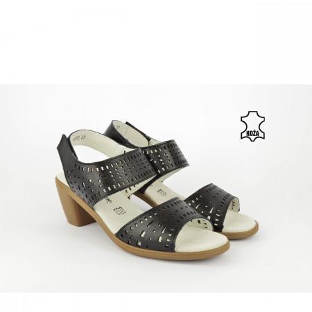 Kožne ženske sandale - Sandalete na štiklu 1670CR crne