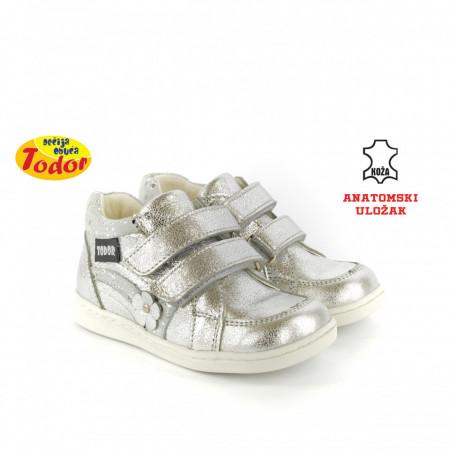 Kožne dečije cipele 474-S sa anatomskim uloškom srebrne