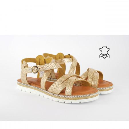 Kožne ženske sandale na debelom djonu D-2108ZT zlatne