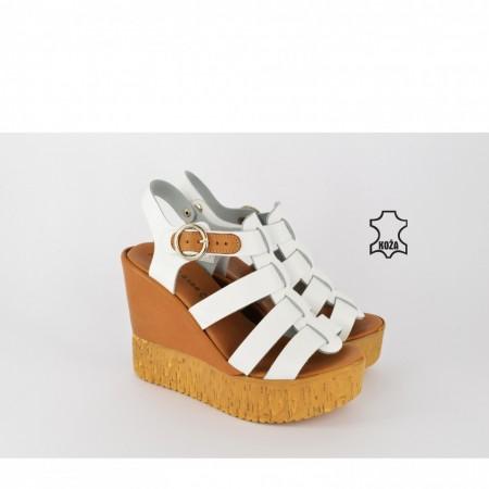 Kožne ženske sandale na platformu D-704 bele