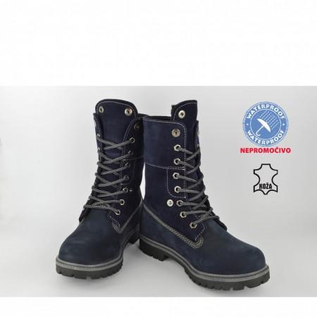 Kožne NEPROMOČIVE dečije duboke cipele 506TT teget