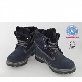 Kožne NEPROMOČIVE ženske duboke cipele 506TT teget