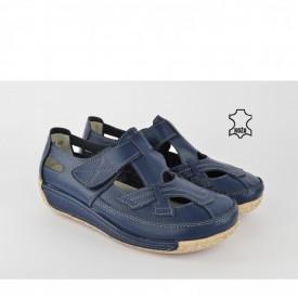 Kožne ženske cipele na platformu SD-1084 teget
