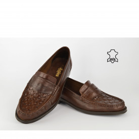 Kožne muške cipele - Mokasine 010BR braon