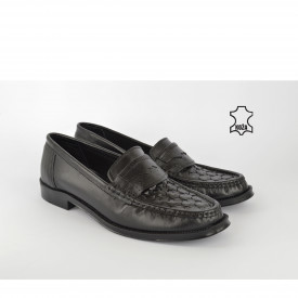 Kožne muške cipele - Mokasine 010CR crne
