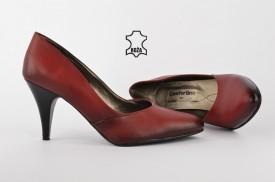Kožne ženske cipele na štiklu - Salonke 208L crvene