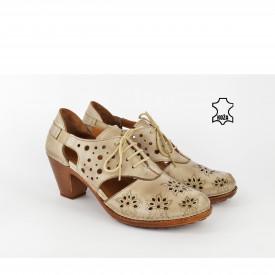 Kožne ženske cipele na štiklu K1891 bež