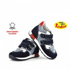 Kožne dečije cipele 529 sa anatomskim uloškom plave