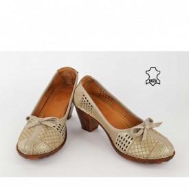 Kožne ženske cipele na štiklu K1868SV sive