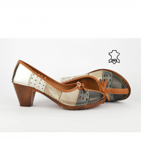 Kožne ženske cipele na štiklu K1880SH šarene