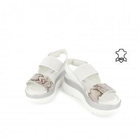 Kožne ženske sandale na platformu D-805BL bele