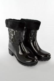 Gumene NEPROMOČIVE postavljene ženske čizme F88-7 crne